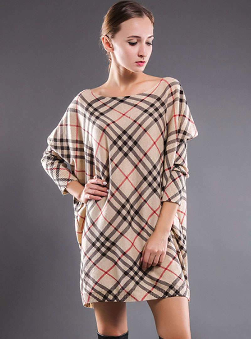Plaid Loose Batwing Sleeve Casual Knitted Sweater