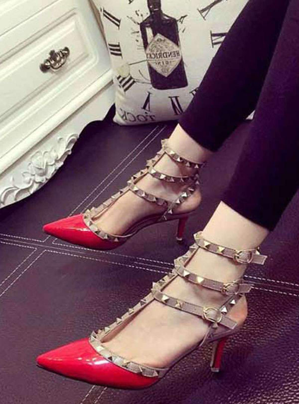 Pointed Toe Rivet Stiletto Heels Sandals