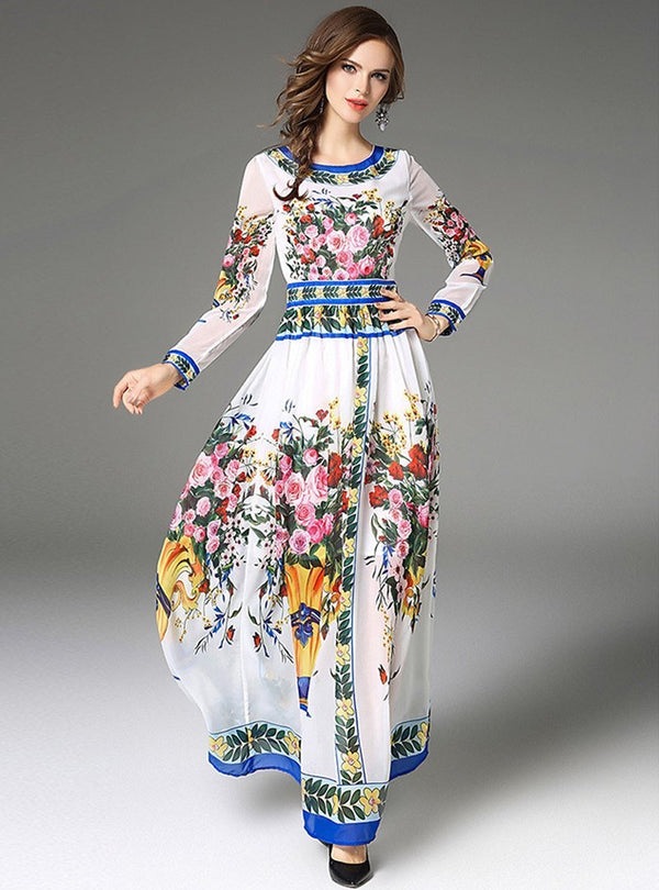 White Floral Printed High Waist Maxi Dress