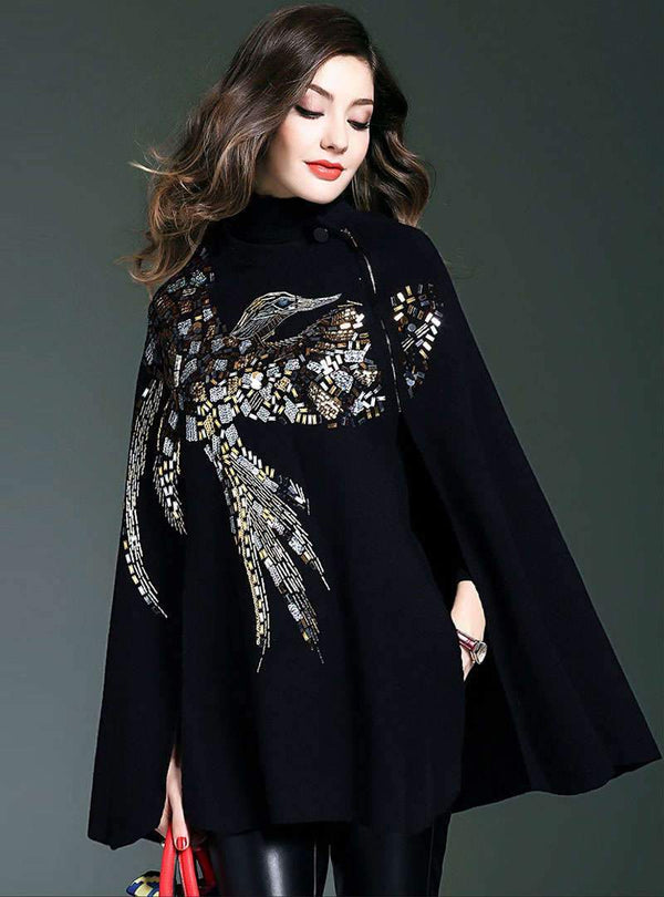Black Nail Bead Batwing Sleeves Coat