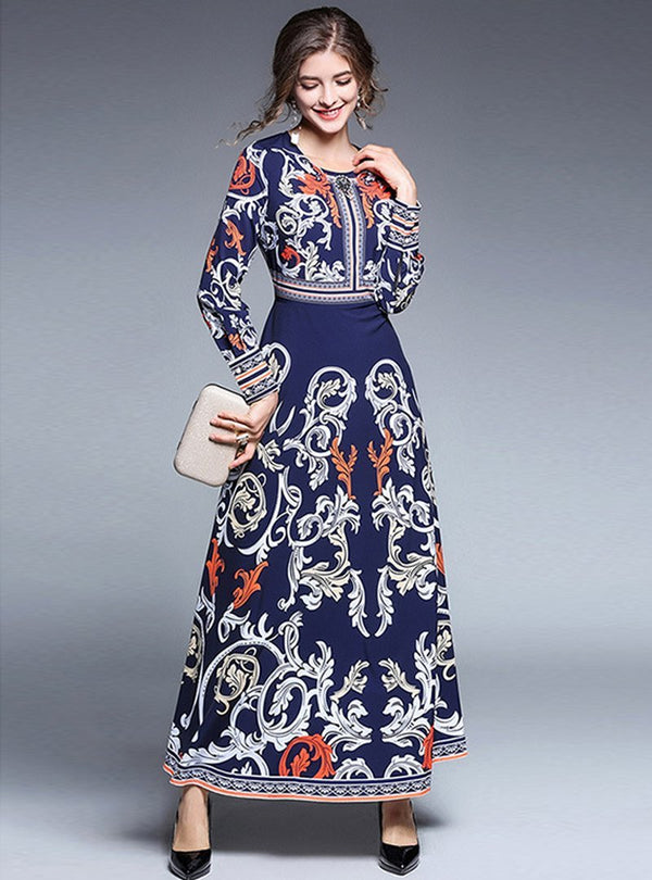 Dark Blue Court Printed Maxi Dress