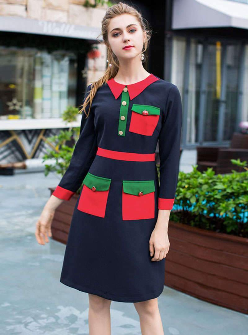 Chic Hit Color Front Pocket A-line Midi Dress