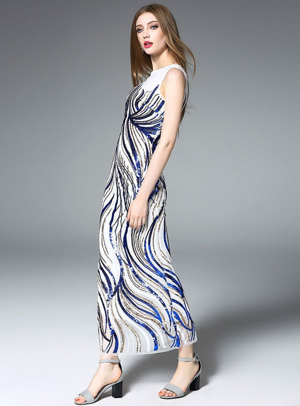 Blue Streamline Sequined Maxi Dress