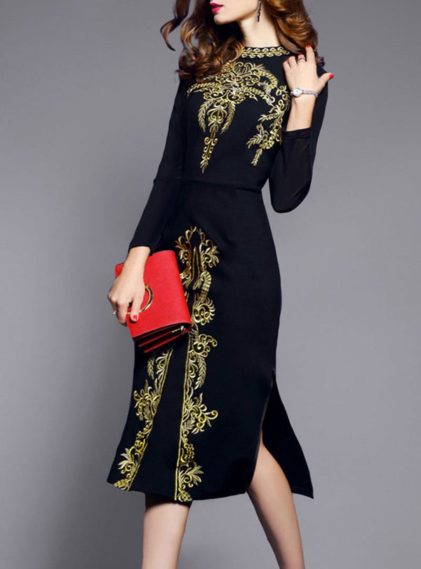 Black Printed Side Split Bodycon Dress