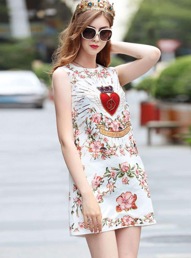 White Floral Printed Sleeveless Mini Dress