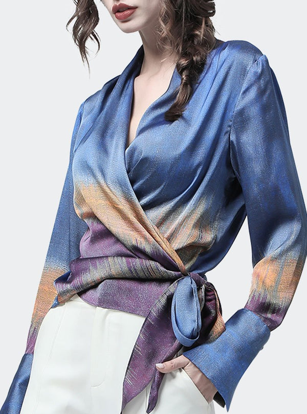 Solid Surplice Neck Printed Blouse
