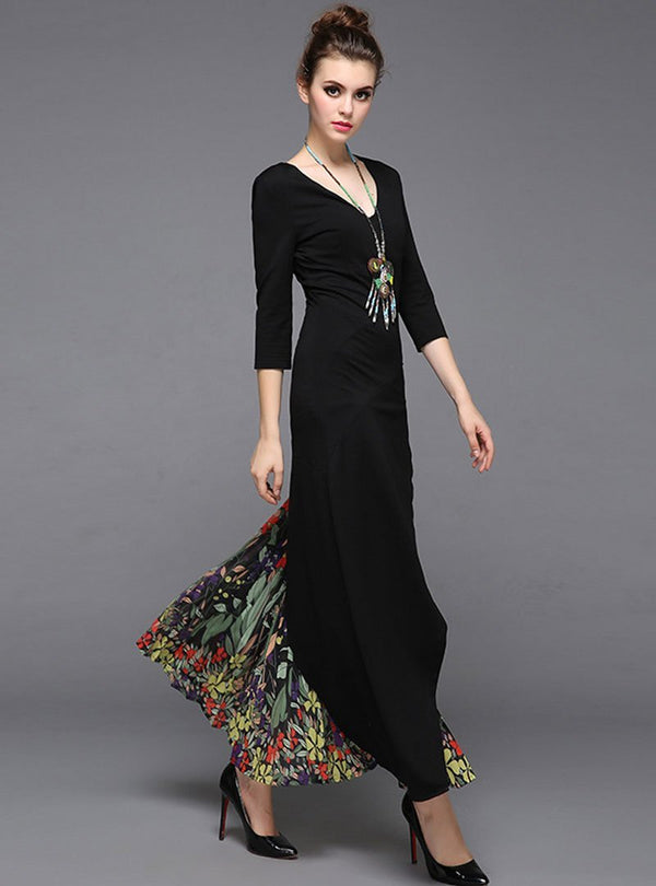 Black V-Neck Floral Printed Maxi Dress