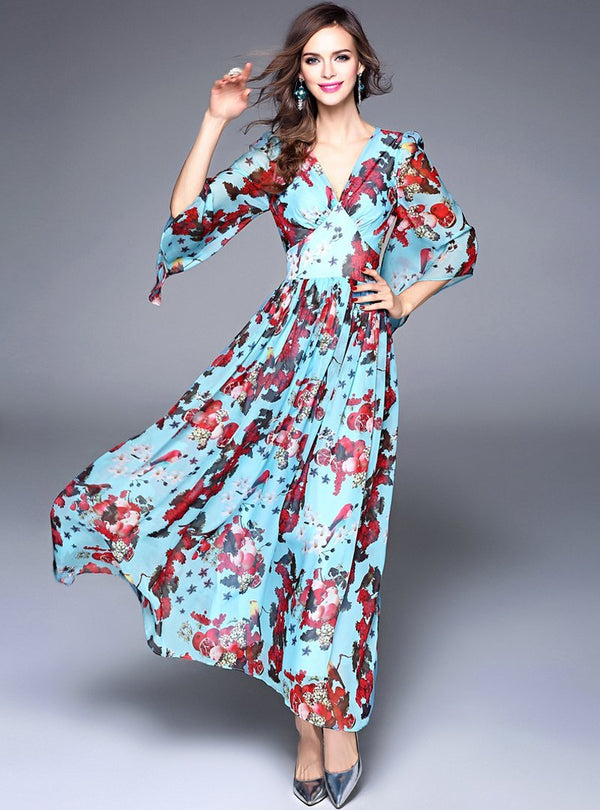 Blue Floral Printed V-Neck Maxi Dress
