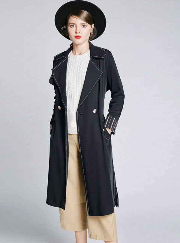 Black Turn Down Collar Trench Coat
