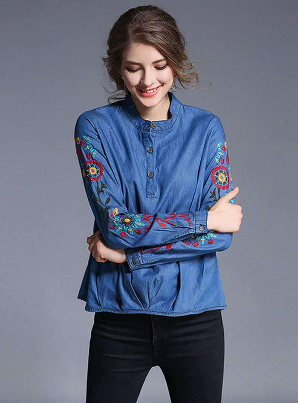 Blue Floral Embroidered Asymmetric Hem Denim Blouse