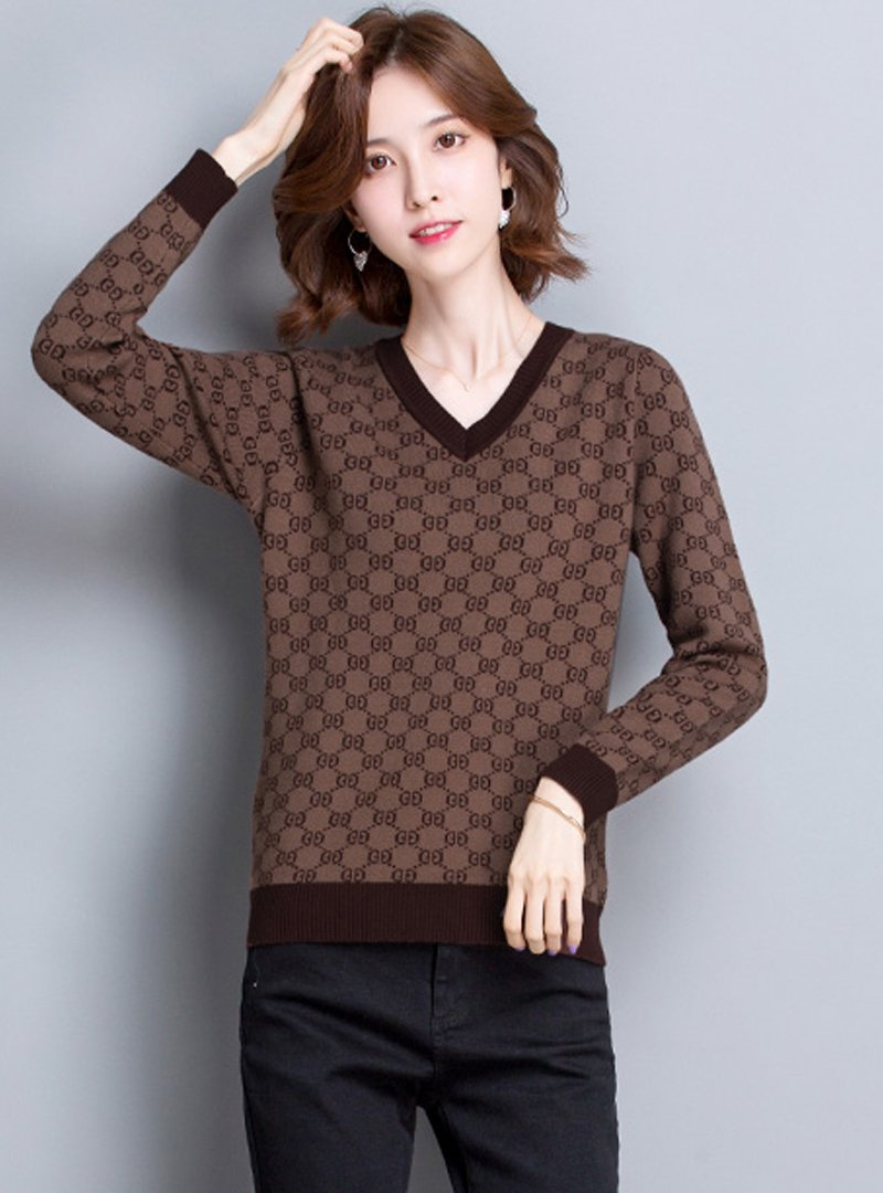 Casual V-Neck Printed Long Sleeves Knitted Sweater