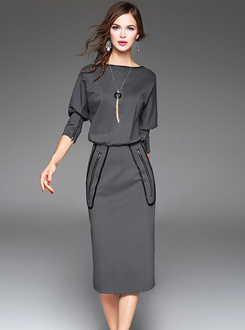 Black Off Shoulder Bat Sleeve Bodycon Dress