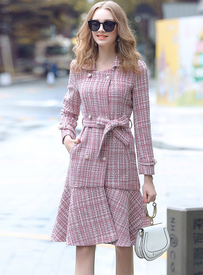 Pink Plaid Turn Down Collar Double-Breasted Midi Dress