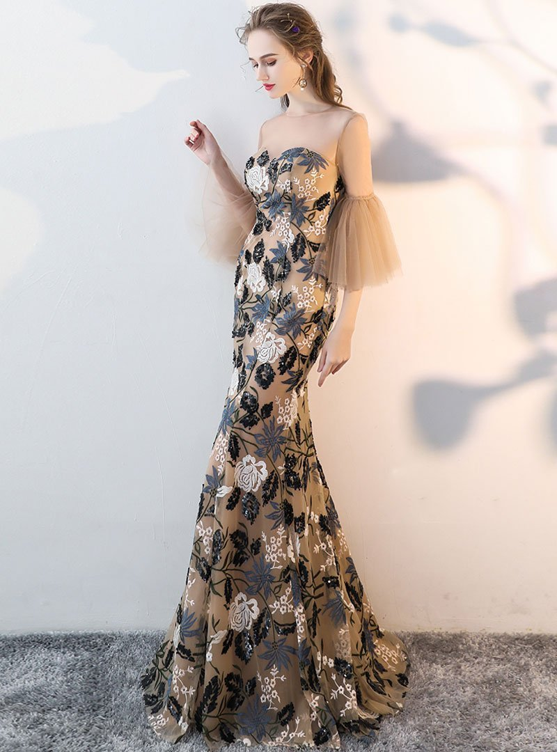 Apricot Floral Embroidered Flare Sleeve Evening Dress