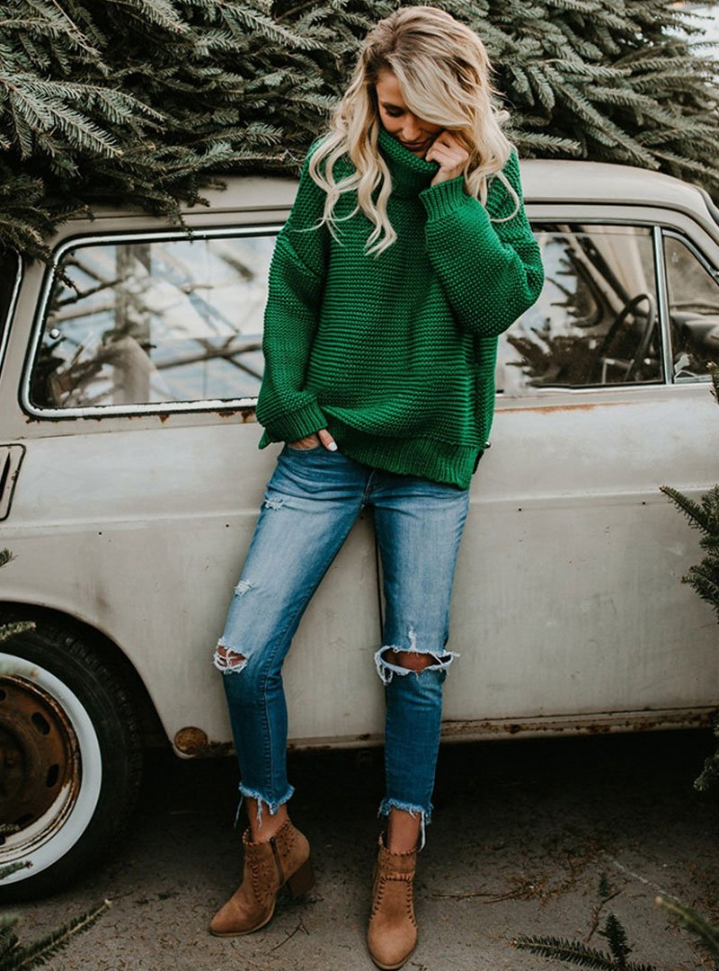 Green High Neck Loose Pullover Sweater