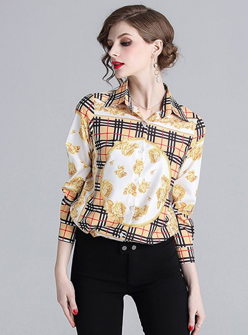 Retro Floral Printed Turn Down Collar Blouse