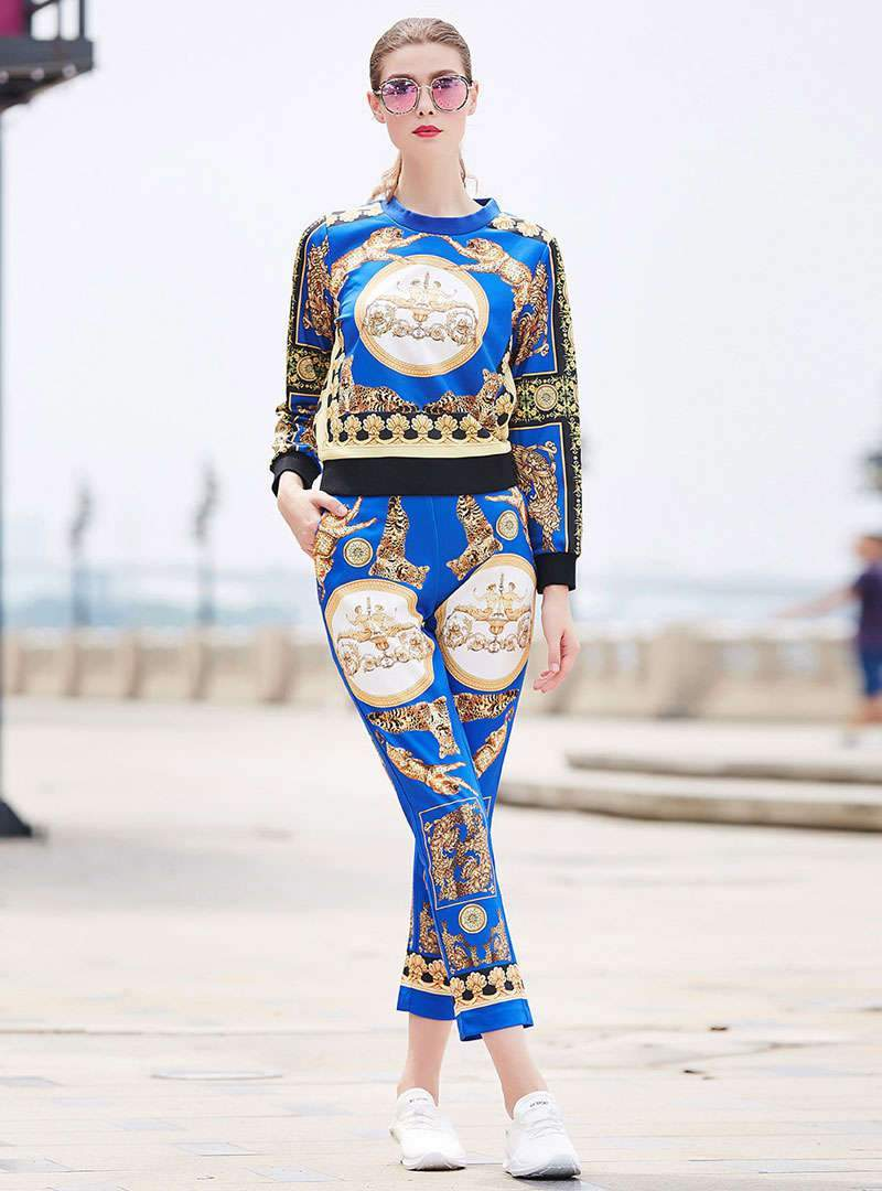Royal Printed Two Piece Outfits
