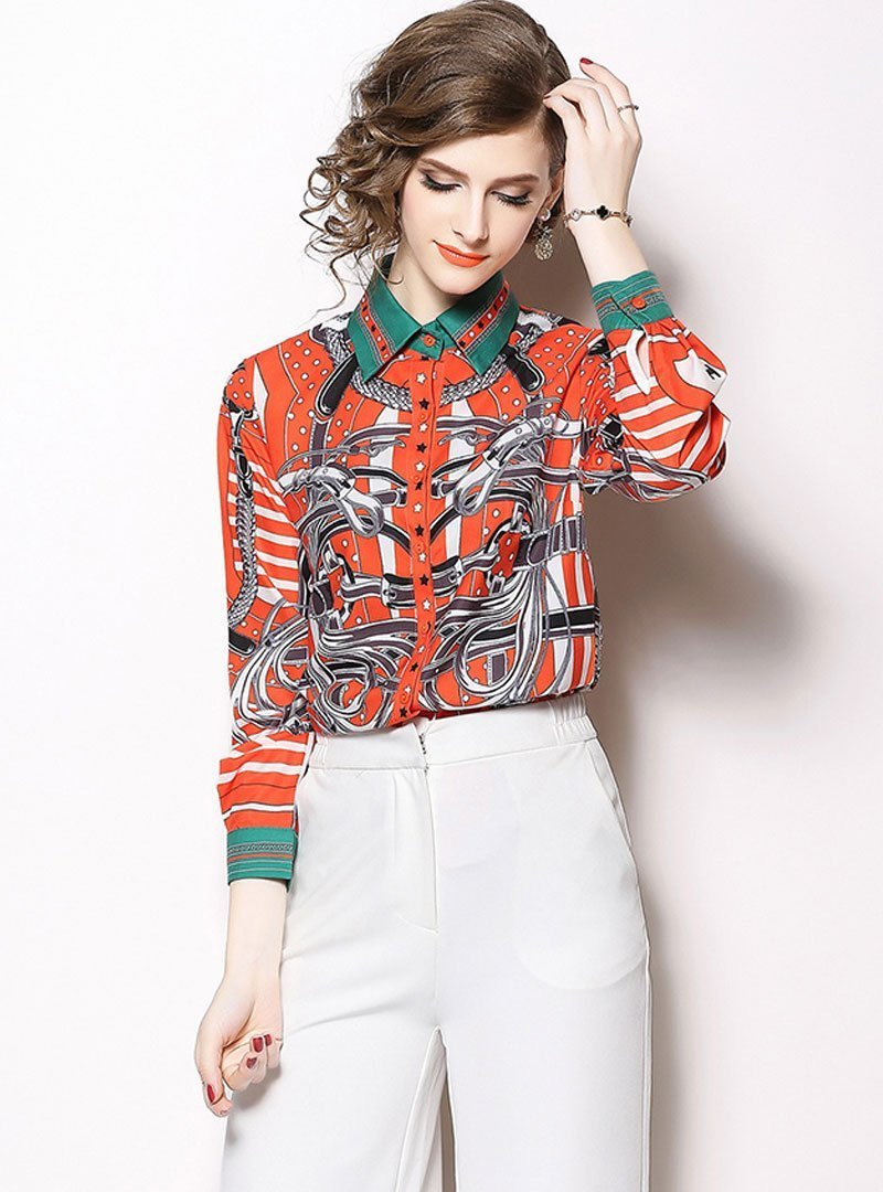 Orange Retro Floral Printed Blouse