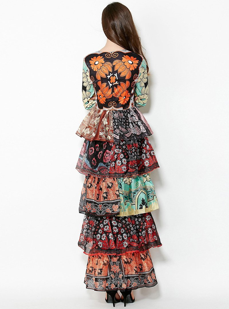 Floral Printed Flare Sleeve Maxi Dress