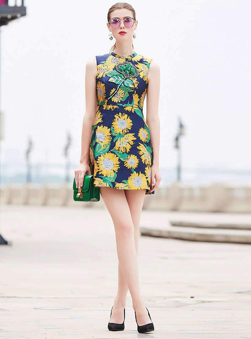 Stylish Floral Embroidered Beaded Mini Dress