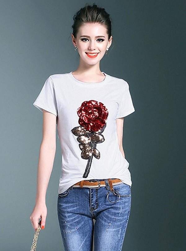 White Rose Embroidered Sequin T-Shirt
