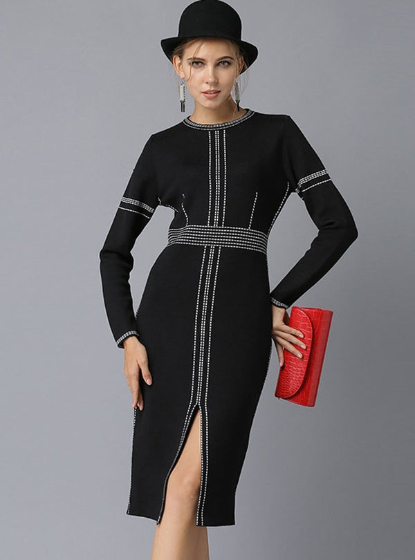 Black Split Cinched Waist Knitted Midi Sweater Dress
