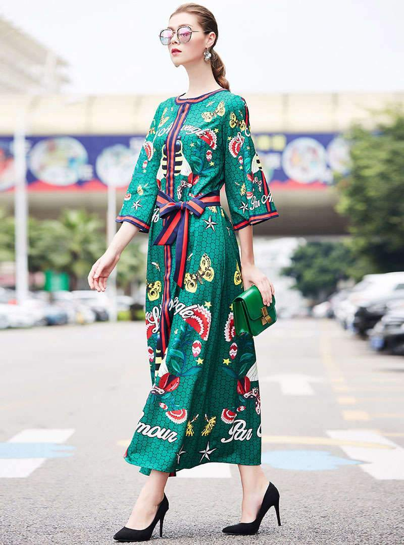 Green Floral Printed Lace-up Maxi Dress