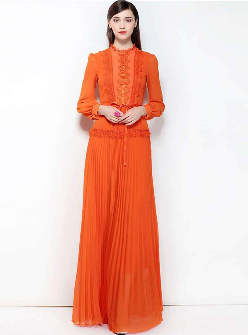 Solid Color Pleated Maxi Dress