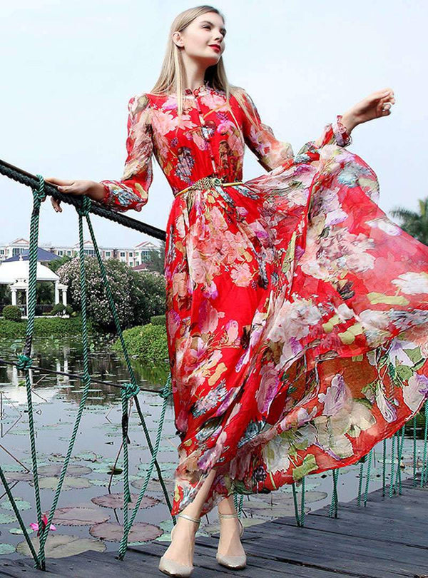 Multi Color Floral Printed Silk Maxi Dress
