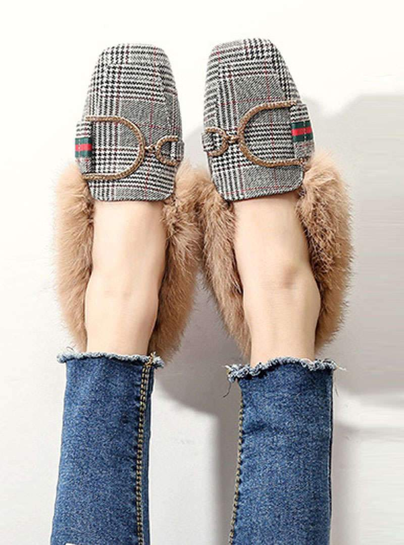 Square Toe Check Suede Flats