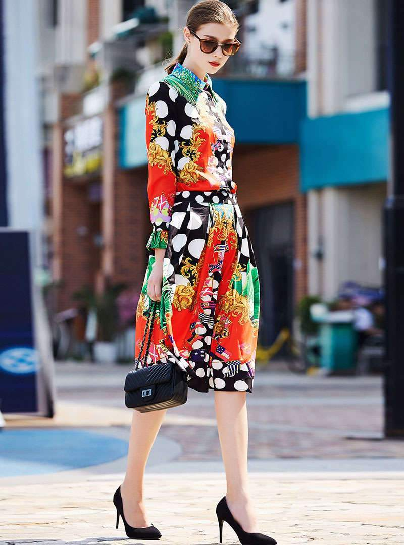 Floral Printed Polka Dot Two-Piece Outfits