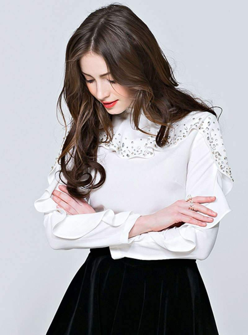 Solid Color Nail Bead Ruffle Side Blouse