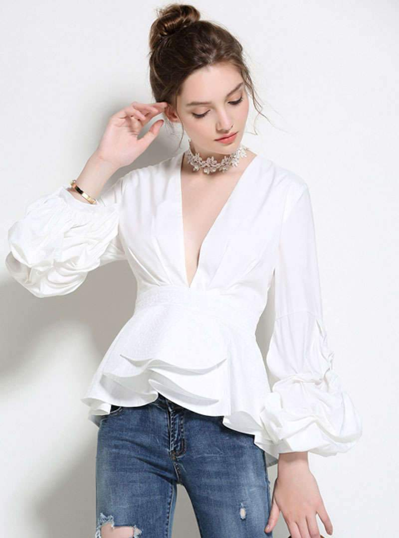 V-Neck Low Cut Ruffled Blouse