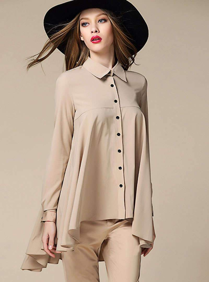 Solid Color Swing Chiffon Blouse