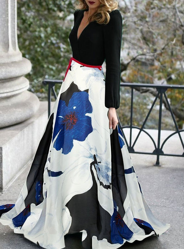 V-Neck Black Evening Floral Maxi Dress