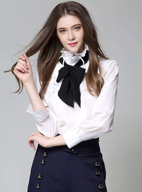 Pure Color Blouse With Bowknot