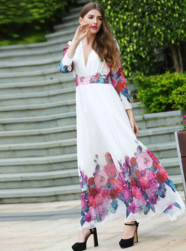 White V-Neck Floral Printed Bohemia Maxi Dress