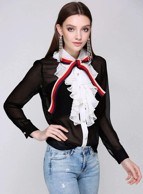 Black Palace Style Ruffle Blouse With Bowknot