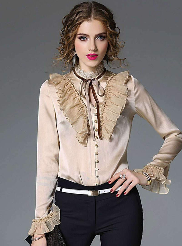Solid Color Ruffled Bow Blouse