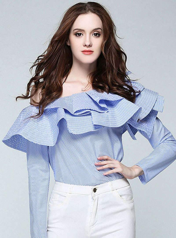Stripes One Shoulder Ruffled Blouse