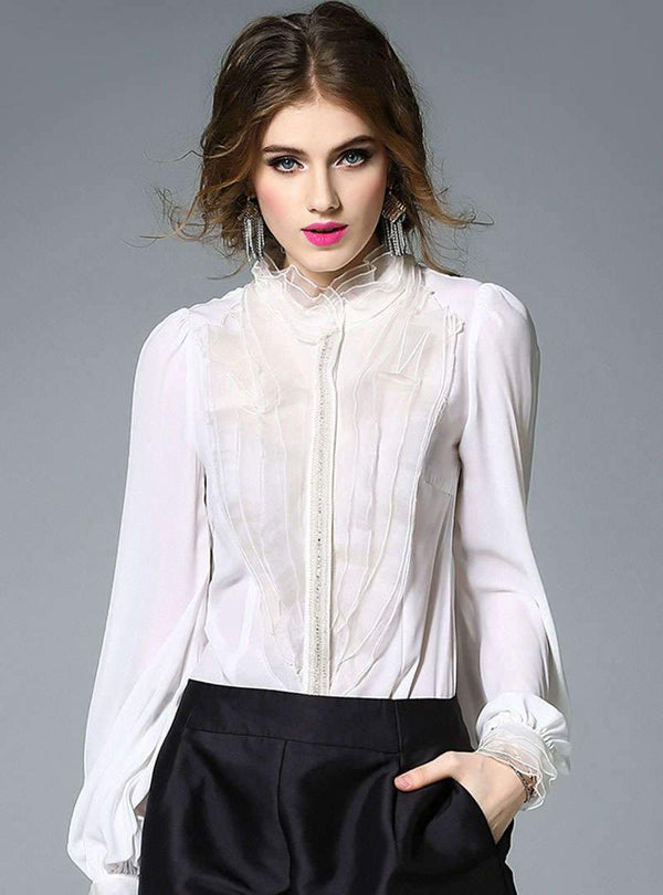 Solid Color Crystal Chain Silk Blouse