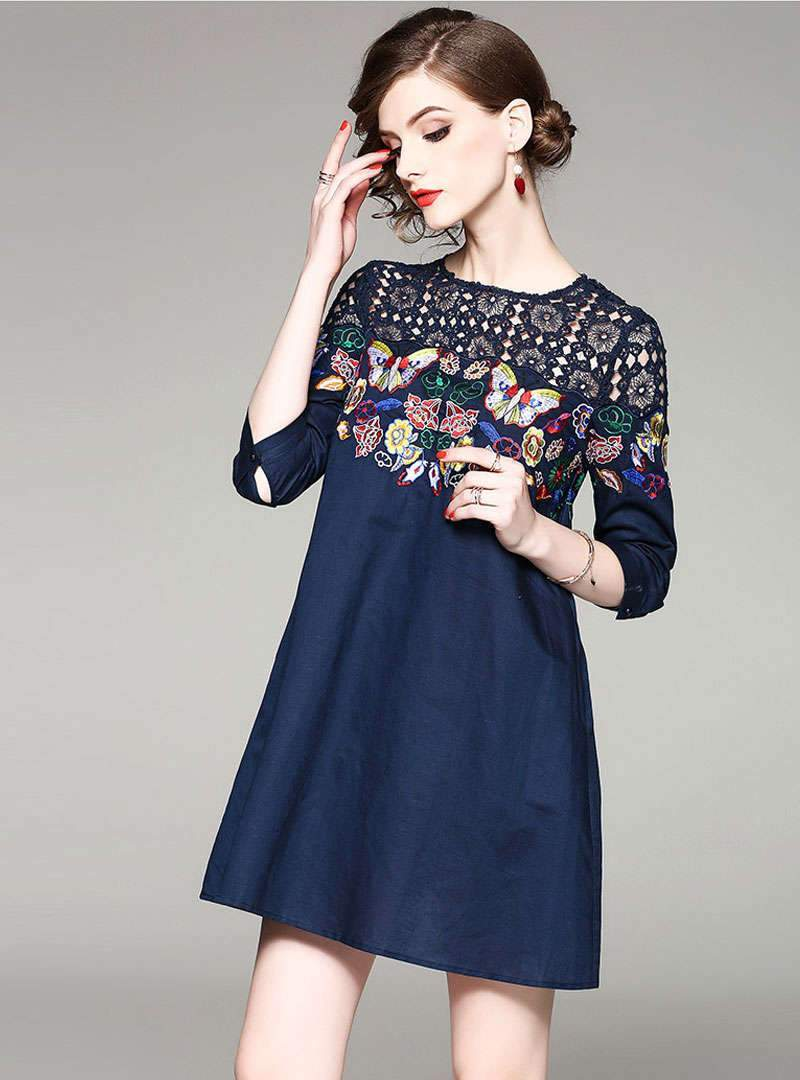 Ethnic Floral Embroidered Mini Dress