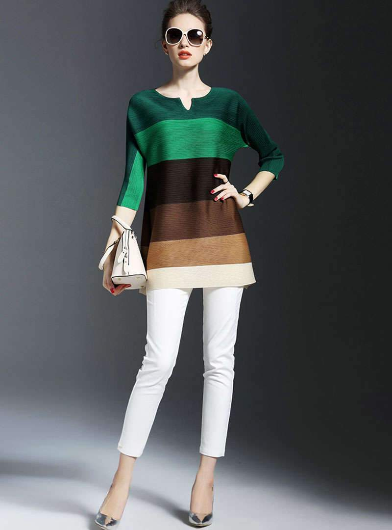 Color Block Casual Crew Neck Blouse