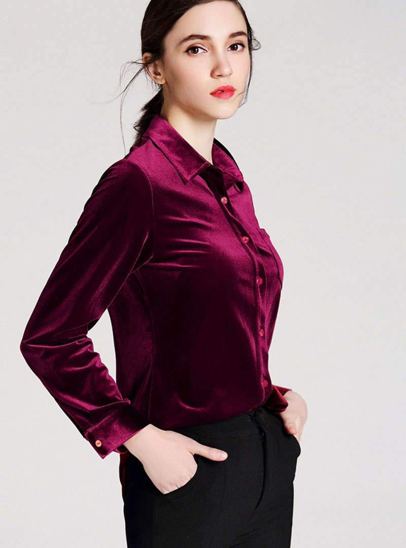 Solid Color Pocket Buttoned Velvet Blouse