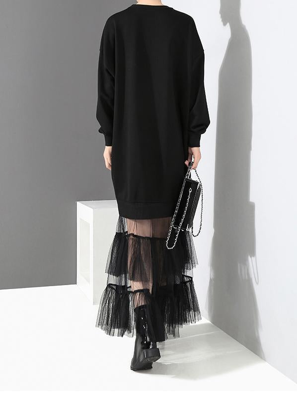 Black Loose Rivet Mesh Long Sleeve Maxi Dress