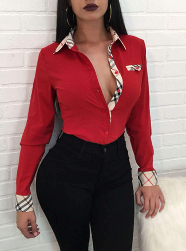Slim-fitting Long Sleeves Lapel Blouse