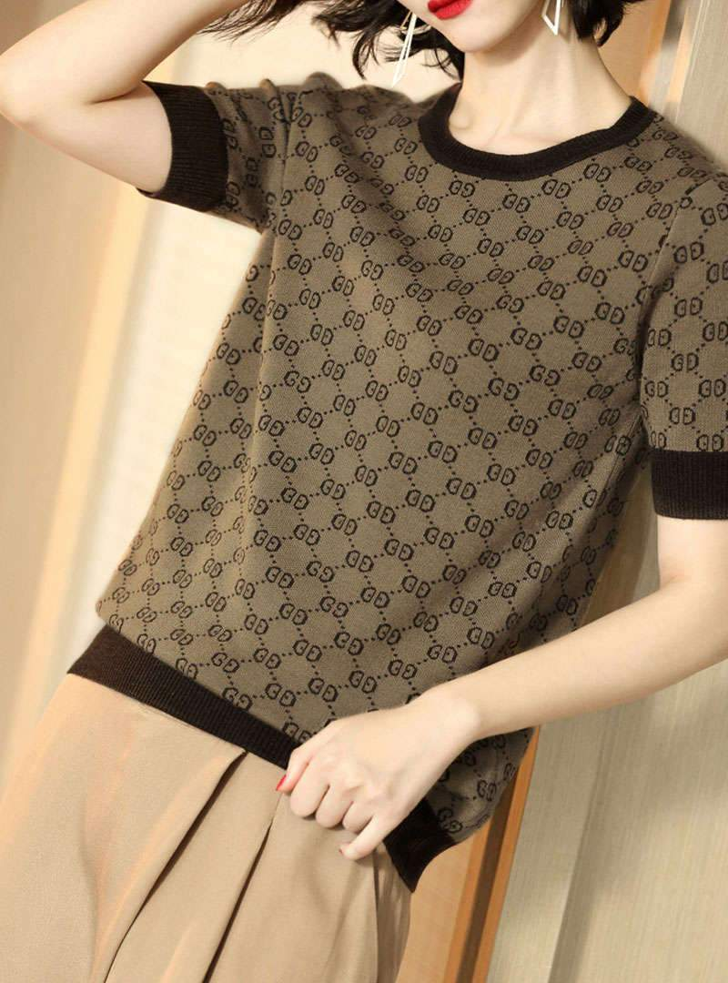 Knitted Short Sleeves Round Neck Printed T-Shirt