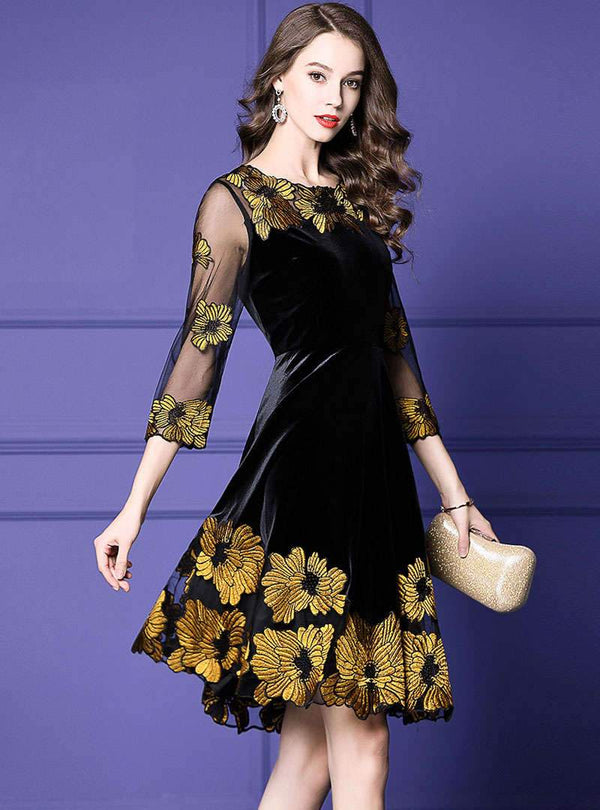 Black See-Through Crew Neck Floral Embroidered Mini Dress