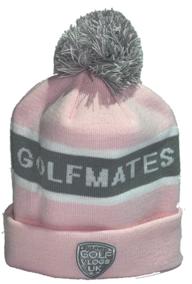 #Golfmates Winter Beanie - Pink/Grey/Grey