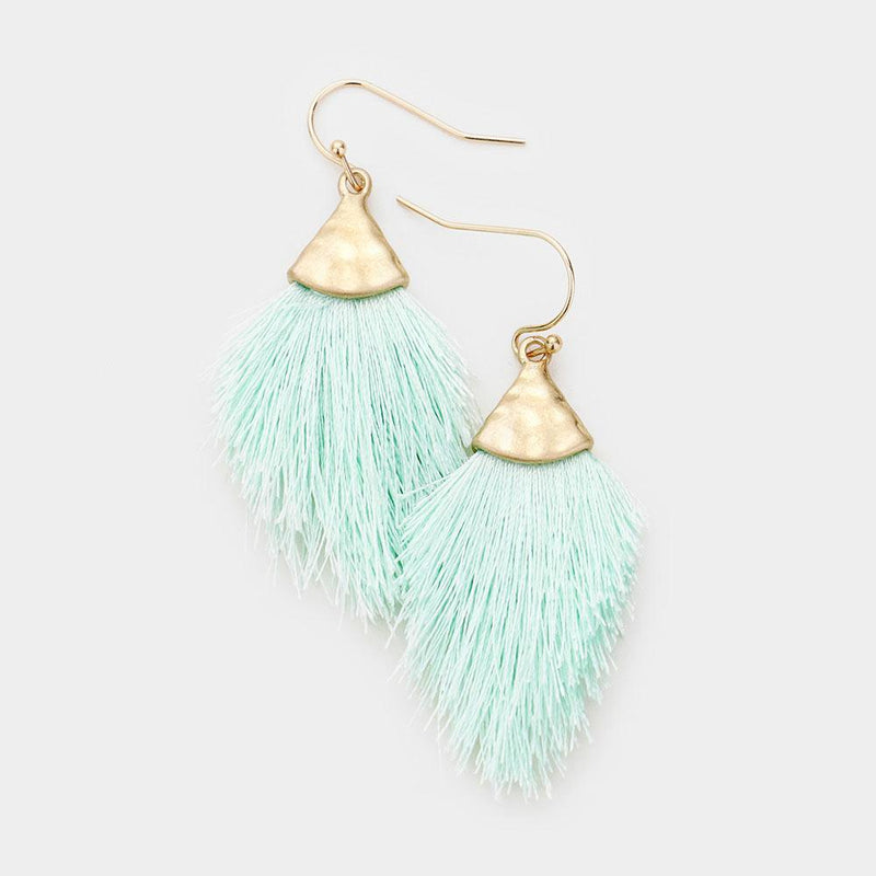 Mini Tassel Drop Earrings in Mint - Boutique 1780